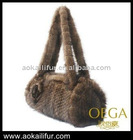 New fashion lady knitted mink fur bag/luxury mink fur bag
