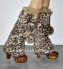 YR-147 Leopard grain printed rabbit fur leg warmers