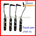 PU leather stylus touch pen with iphone earplugs