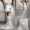 BW103 Hot sale luxury sweetheart venice lace beaded shinny satin mermaid ruched wedding dress 2012