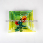 square decal glass fruit tray