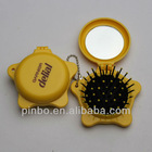 pop star shaped mirror with hair brush and keyring
