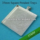 35MM Rhodium Plated Square Blank Tray Pendants, Blank Bazel Settings, Blank Pendant Settings For Cabochons or Stickers