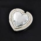 zinc alloy white rhinestone heart shape bag hanger wholesale