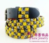 Yellow & Black Pyramid Studded Snap on Belt