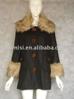 ladies fashion coat with fur collor(013811)