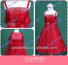 Custom Made With Straps Beads Pearls A-line Red Flower Girl Dress Cute Children Dress