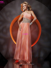 Free Shipping Chiffon long Elegant One Shoulder Organza Dress Prom Dress