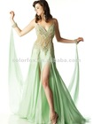 Refreshing Mint Attached Scarves Beaded Bracelets Sequined Bodiceand at the Middle Two Slits Party Evening Dress