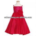 Little Miss Red Faux Silk Rosette Sequin Christmas Girls Dress hy462