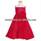 Little Miss Red Faux Silk Rosette Sequin Christmas Girls Dress hy462