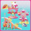 amusement park toys with plastic castle,slide,fairy wheel and horse toy