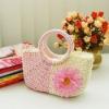fashion women Straw Summer Beach Tote cute chrysanthemum evening bag Pink