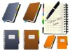 PU leather hardcover sprial notebook with pen
