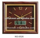 large square wooden wall clock with LCD calendar