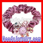 Fashion Elastic Flower Fabric Ponytail Holder Hair Bands with Crystall Ball and Acrylic