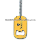 Yellow color painted bottle opener with printing