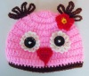 New Style Pink Girls Hand made Knit Owl Baby Beanie Hat