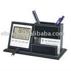 Multifunction Leather Pen Holder with Digital Calendar