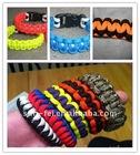 Parachute Cord Bracelet, Survival Bracelet with U Shaped Stainless Shackle, 550 Paracord Survival Bracelet with whistle buckle