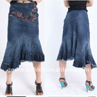 2013 Latest Design Ladies Denim Embroidery Blue Jeans Dress/ Jeans Manufacturer For Women