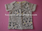 100%cotton short sleeve V-neck baby t-shirt with print