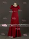 BM0870 Graceful Waist Beaded A Line Lng Red Bridesmaids Dress