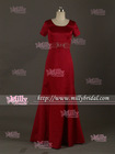 BM0870 Graceful Waist Beaded A Line Lng Red Bridesmaids Dress