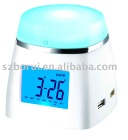 4port USB HUB digital LCD clock with calendar