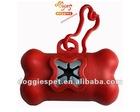 Red bone shaped pet waste bag dispenser