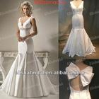 Elegant Mermaid V-neckline Jewelry Beaded Waistline Satin Wedding Gown Sample Pictures
