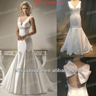 Elegant Mermaid V-neckline Jewelry Beaded Waistline Satin Wedding Gown Sample Pictures