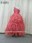 Fuchsia one shoulder beaded organza flower girls dresses 2012