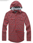 Men's Casual Plaid Hooded Long Sleeve Cotton Shirt