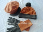 100% wool knitted scarf,hat,gloves set
