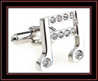 fashion musical note diamond cufflinks