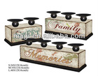 Retro S/3 Sweety& Memories & Family Decorative Candle Holder