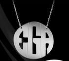 Custom Silver Block Monogram Pendant Necklace max 3 letters