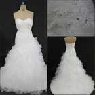 Wonderful sweetheart ball gown white organza pleating applique and beaded lace up white black lace wedding dress