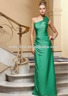 Verde Silky Chiffon Floral One Shoulder Gown with Beading Bridesmaid Dress