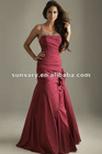 Red One Shoulder Taffeta Long Prom Dresses