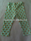 turquoise and gold polka dot baby cotton leggings cotton pants for baby,