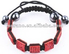Pave Beads Red Square Baby Shamballa Bracelet BD-021