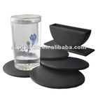 black leather coasters embossed leather drink coaster set