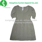girl's newest fashion round neck collar puff sleeve dress