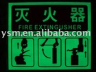 Green light photoluminescent film for safety signs