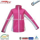 Stylish!! autumn/spring ladies' pink turtle neck softshell jacket