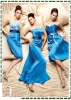 Newest Style Off-shoulder Blue Ruching Bridesmaid Dress
