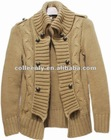 Lady's Wool Stand Collar Sweater Cardigan Coat