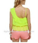 ladies apparel factory summer yellow cutout top new design blouse chiffon women clothing